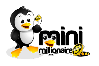 Mini Millionaires Club Logo Includes Cartoon Character of Penguin and Text That Says Mini Millionaires
